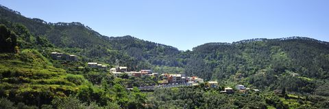 Village on the Hillside Stock Photos
