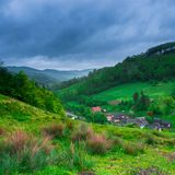 Village on hillside meadow with forest Royalty Free Stock Photography