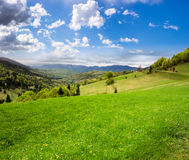 Village on hillside meadow Royalty Free Stock Image