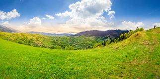 Village on hillside meadow Royalty Free Stock Images