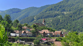 Village in hillside, Transylvania, Romania  Royalty Free Stock Images