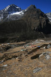 The village in the Himalayas. During the trek to Everest base camp and back. Nepal 2008 Royalty Free Stock Photos