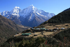 The village in the Himalayas. During the trek to Everest base camp and back. Nepal 2008 Stock Image