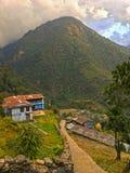 Village in Himalayas Mountains Annapurna trek. Nepal stock image