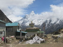 Village in Himalayas. Trekking in the Himalayas, Nepal, Asia. On way to Everest Base camp. A village with a stupa Stock Photos