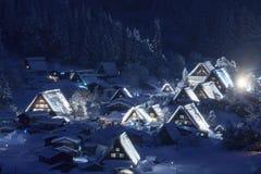 Village historique de Shirakawago en hiver photo stock