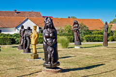 Village of Hlebine wooden statues Royalty Free Stock Image