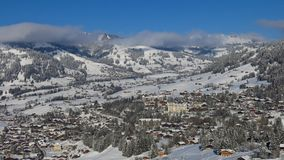 Village and holiday resort Gstaad covered by new snow. Winter sc Stock Images