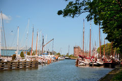 Village in Holland with harbor and castle Royalty Free Stock Photos