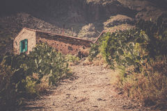 Village home. Gravel road leading to a small village home ( looking abandoned ) in Gran Canaria, Spain Royalty Free Stock Image