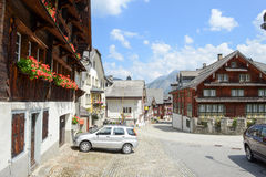 The village of Hospental on the Swiss alps Stock Images
