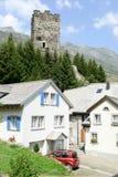 The village of Hospental on the Swiss alps Stock Photos