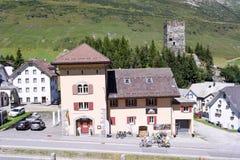 The village of Hospental on the Swiss alps Stock Image