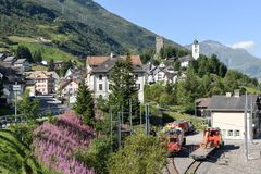 The village of Hospental on the Swiss alps. Hospental, Switzerland - 5 August 2017: the village of Hospental on the way to Gotthard pass on the Swiss alps Royalty Free Stock Photography