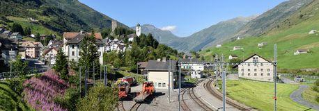 The village of Hospental on the Swiss alps. Hospental, Switzerland - 5 August 2017: the village of Hospental on the way to Gotthard pass on the Swiss alps Stock Photos