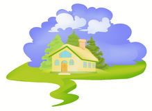 Village house. Illustration of single little village house with trees and blue sky background Royalty Free Stock Photography