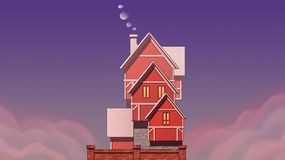 Village house art. Art illustration vector illustration