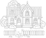 Village house. Black and white vector illustration of a country house and a courtyard with a fence, trees and bushes Stock Images