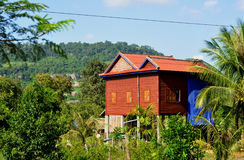 Village house in cambodia. Typical village house on stilts in cambodia Royalty Free Stock Photo