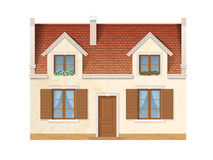Village house facade. The historic facade of the European house. Windows decorated with flowers. Wooden windows and doors and a red tile roof. Vector detailed vector illustration