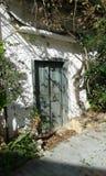 Village house. In Fodele. Old green door. White walls. Crete. Greece Stock Photos