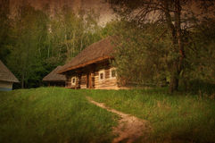 Village house in forest environment, artistic toned image Royalty Free Stock Images