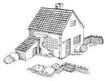Village house graphic art black white landscape illustration Royalty Free Stock Images