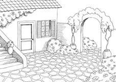 Village house graphic yard art black white landscape illustration. Vector Stock Photography