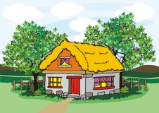 Village house with hay and trees Royalty Free Stock Image