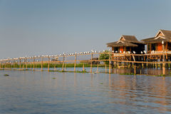 Village house on Inle Lake Stock Image