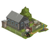 Village house with land, garden and character Royalty Free Stock Photo