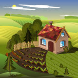 Village house with a red roof Royalty Free Stock Photo