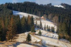 Village house on the slope of the mountain. Ukrainian Carpathian royalty free stock image