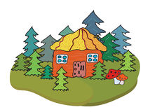 Village house and trees banner Royalty Free Stock Photography