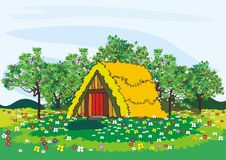 Village house and trees in spring Royalty Free Stock Photo