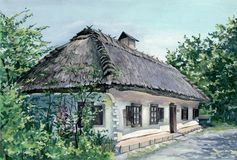 Village house in Ukraine. MY gouache PAINTING - ukrainian village house Royalty Free Stock Photo