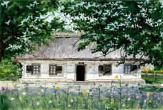 Village house in Ukraine2. MY gouache PAINTING - ukrainian village house Stock Photo