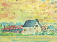 Village house with a village in the background. Oil painting. Village house with a village in the background. Evening, sunset time. The atmosphere of tranquility vector illustration