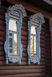 Village house windows with trims, Palekh, Vladimir region, Russi Stock Image