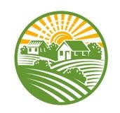 Village houses emblem. Vector color village houses emblem and landscape Royalty Free Stock Photography