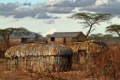 Village and houses of the f Samburu tribe in Kenya Royalty Free Stock Images
