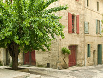 Village houses, France. Village houses and tree, France Royalty Free Stock Image