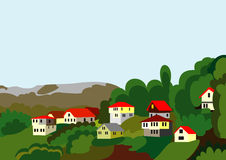 Village houses mountain and forest Royalty Free Stock Photography
