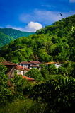 Village Houses By Mountainside Royalty Free Stock Photography