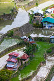 Village houses near rice terraces fields. Amazing abstract texture. Banaue, Philippines Stock Photography