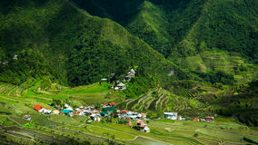 Village houses near rice terraces fields. Amazing abstract texture. Banaue, Philippines Royalty Free Stock Images