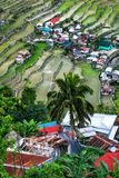 Village houses near rice terraces fields. Amazing abstract texture. Banaue, Philippines Stock Photo