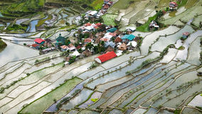 Village houses near rice terraces fields. Banaue, Philippines Stock Image