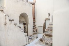 Village houses with old staircases in greek Stock Photography