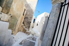 Village houses with old staircases in greek town Royalty Free Stock Photos